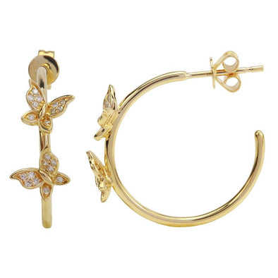 14K Yellow Gold Butterfly Diamond Hoop Earrings