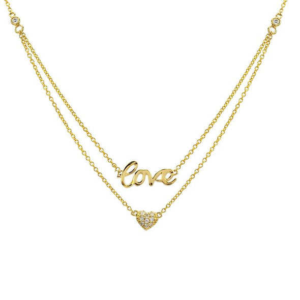 14K Yellow Gold Layered Diamond Love + Heart Necklace