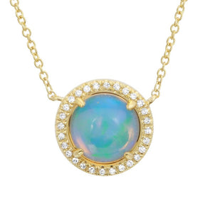 14k Yellow Gold Diamond & Opal RoundNecklace