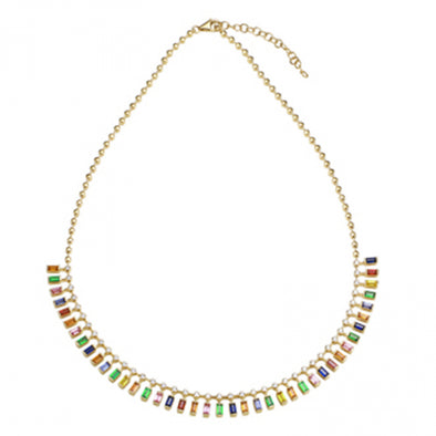 14K Yellow Gold Multi-Sapphire Gemstone Necklace