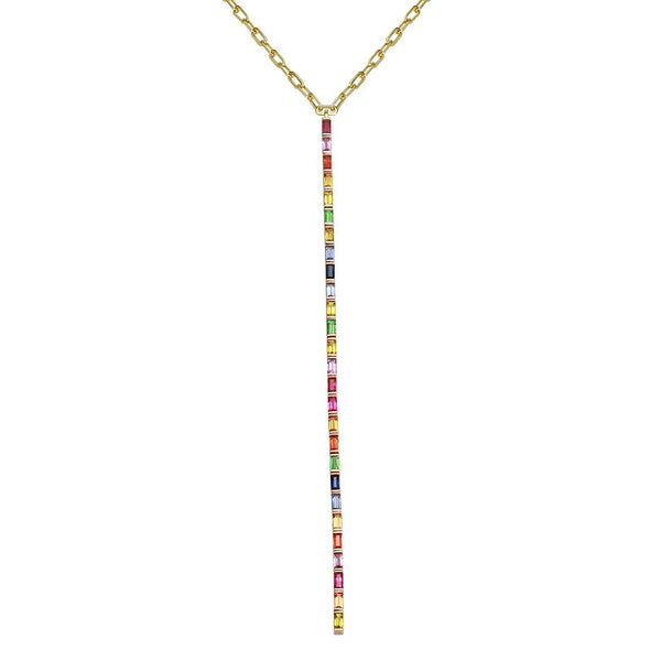 14K Yellow Gold Multi-Sapphire Rainbow Lariat Necklace
