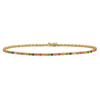 14k Yellow Gold Rainbow Gemstone Tennis Bracelet