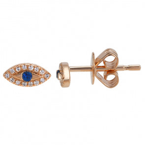 14K Diamond + Sapphire Evil Eye Earrings