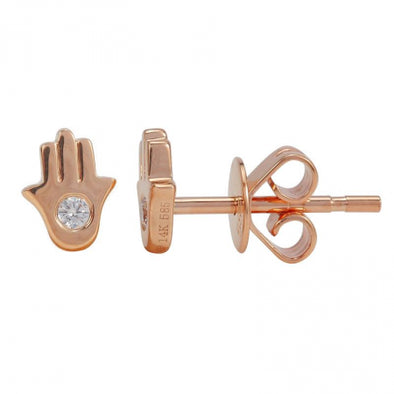 14K Rose Gold Diamond Hamsa Earrings