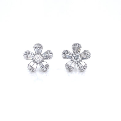 14K Yellow Gold Diamond Flower Earrings (X-Small)