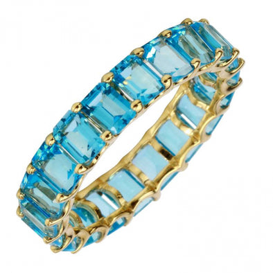 14K Yellow Gold Emerald Cut Blue Topaz Eternity Ring (Small)