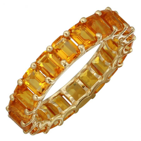 14k Yellow Gold Citrine Gemstone Eternity Ring