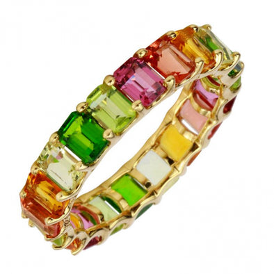 14K Yellow Multi-Sapphire Emerald Cut Eternity Ring (Small)