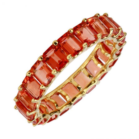 14k Yellow Gold Sunstone Gemstone Eternity Ring