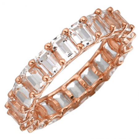 14K Rose Gold Emerald Cut White Topaz Eternity Ring (Small)