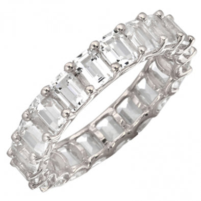 14K Emerald Cut White Topaz Eternity Ring (Small)