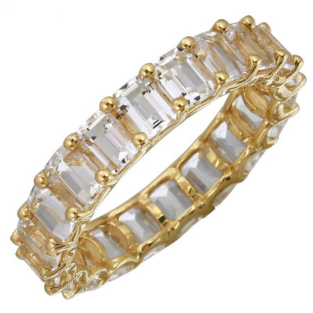14K Yellow Gold Emerald Cut White Topaz Eternity Ring (Small)