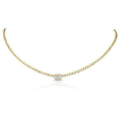 14K Yellow Diamond Chainlink Collar/Choker Necklace