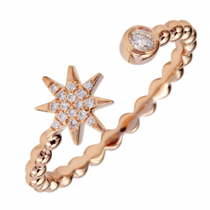 14K Rose Gold Diamond Star Ring