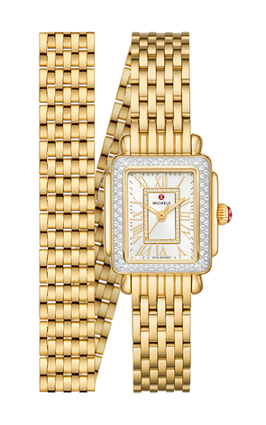 Deco Mini 18k Gold Diamond wrap Watch