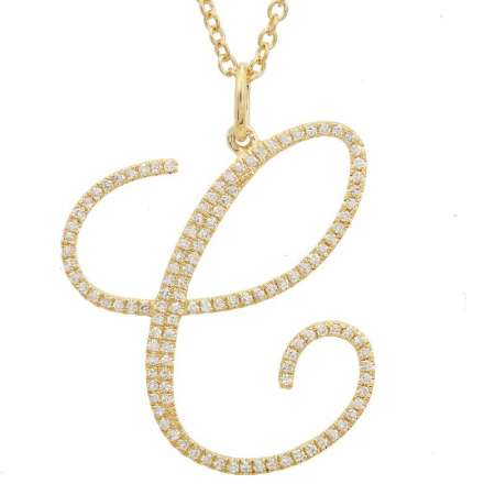 14K Yellow Gold Script Initial Diamond Necklace (Large)