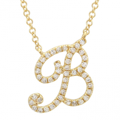 14K Yellow Gold Diamond Script Initial Necklace