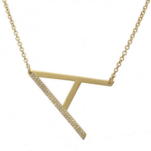 14K Yellow Gold Sideways Large Initial Diamond Necklace