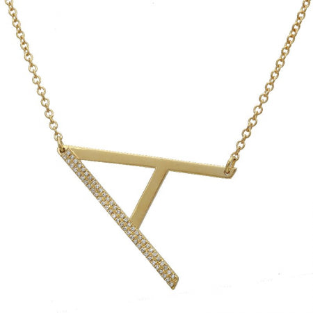 14k Sideways Large Initial Diamond Necklace