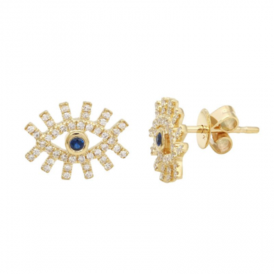 14k Yellow Gold Diamond Evil Eyelash Earrings