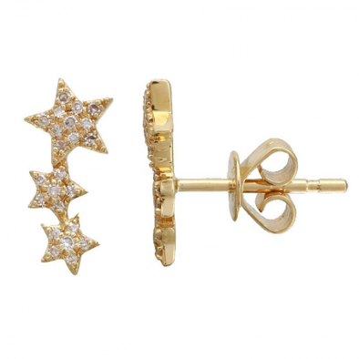14k Yellow Gold Star Diamond Earrings