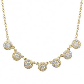 14k Yellow Gold Diamond Halo Layering Necklace