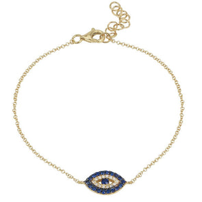 14k Yellow Gold Evil Eye Diamond & Sapphire Gemstone Bracelet
