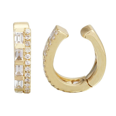 14K Yellow Gold Baguette + Round Diamond Ear Cuff
