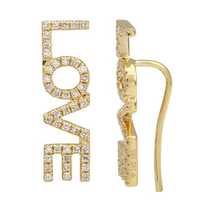 14k Yellow Gold Diamond LOVE Ear Crawler