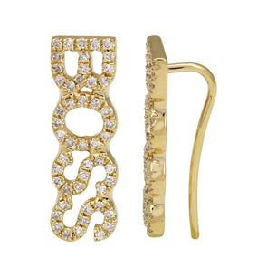 "14K Yellow Gold Diamond ""BOSS"" Ear Crawler"