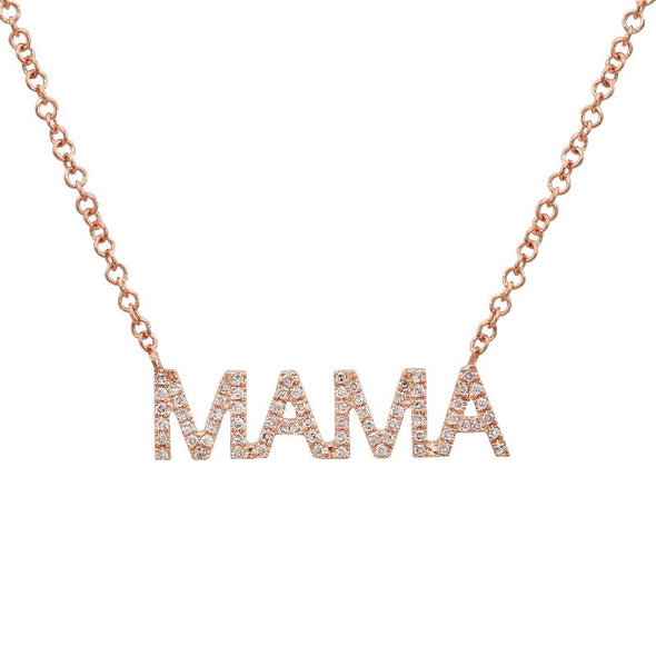 "14K Rose Gold Diamond ""MAMA"" Necklace"