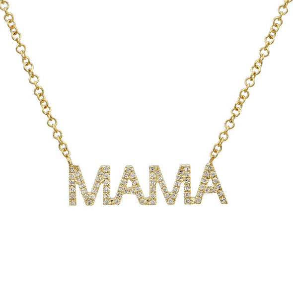 "14K White Gold Diamond ""MAMA"" Necklace"