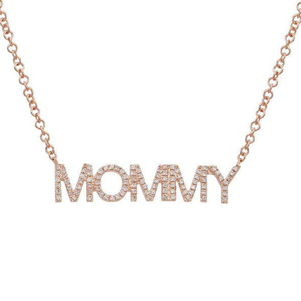 "White Gold 14K Diamond ""MOMMY"" Necklace"