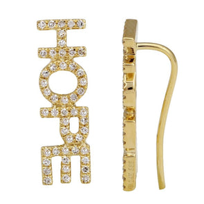"14K Yellow Gold Diamond ""HAPPY"" Ear Crawler"