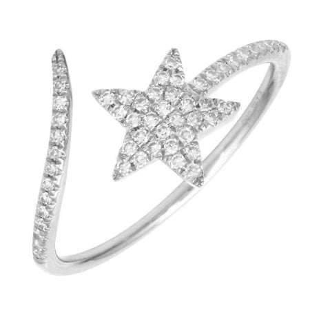 14k White Gold Diamond Shooting Star Ring