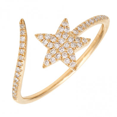 14k Yellow Gold Diamond Shooting Star Ring