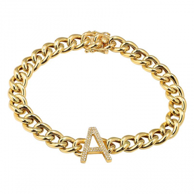 14K Yellow Gold Diamond Initial Link Bracelet