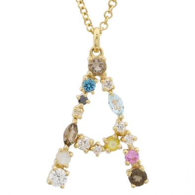 "14K Yellow Gold Multi Color Stones Initial ""E"" Necklace"