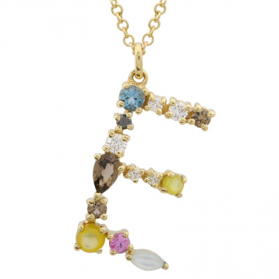 14K Yellow Gold Multi Color Stones Initial Necklace