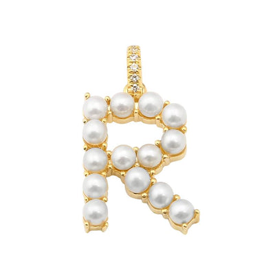 "14K Yellow Gold Pearl Initial ""R"" With Diamond Bail Pendant"