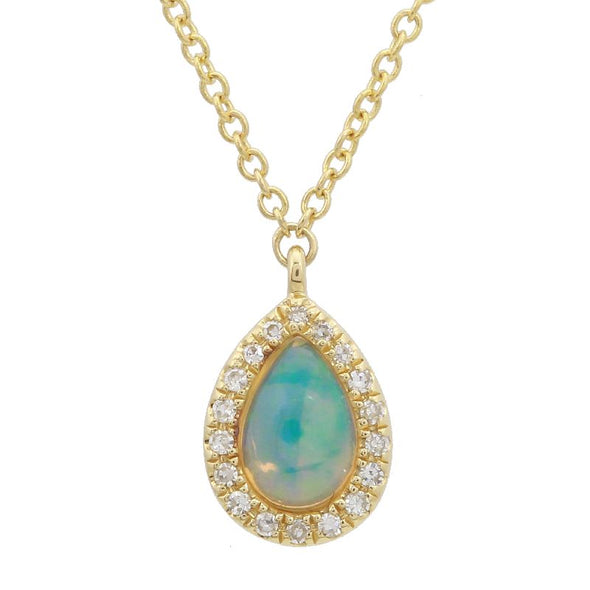 14k Yellow Gold Diamond & Opal Pear Necklace