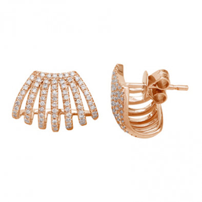 14K Rose Gold Multi Row Caged Diamond Earring