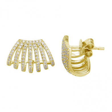 14K Yellow Gold Multi Row Caged Diamond Earring
