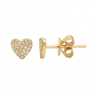 14K Yellow Gold Heart Diamond Earrings