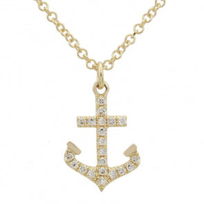 14K Yellow Gold Diamond Anchor Pendant & Chain
