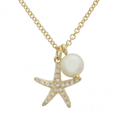 14K Yellow Gold Starfish Pearl Pendant