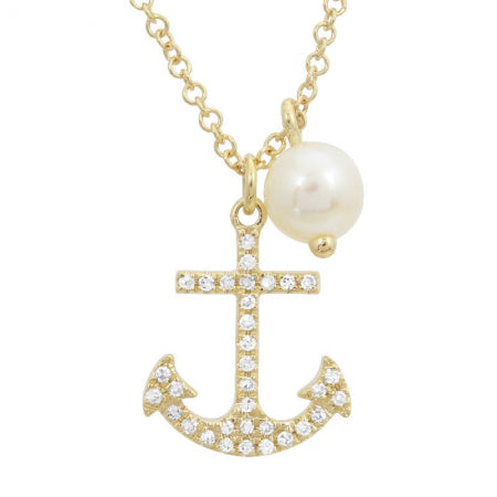 14k Yellow Gold Diamond Anchor & Pearl Pendant With Chain