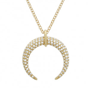 14K Yellow Gold Diamond Crescent Moon Necklace