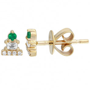 14k Yellow Gold Mini Emerald Earrings