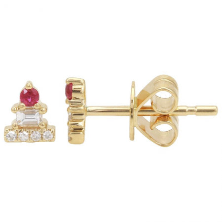 14k Yellow Gold Mini Ruby Earrings